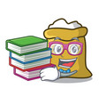 student with book spinning top mascot cartoon vector image