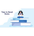 tiny woman reading book sitting on stack giant vector image vector image