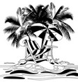 tropical island with beach chair under palms vector image vector image