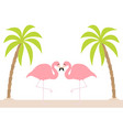 two pink flamingo couple standing on one leg vector image vector image