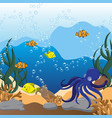 underwater seascape with octopus jar and fish vector image vector image