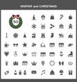 winter and christmas icon set vector image