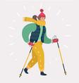 woman in nordic walking vector image vector image