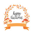 wreath autumn plants with inscription vector image vector image