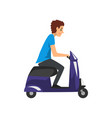 young man riding scooter on a vector image