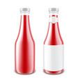 set of tomato ketchup bottle on white background