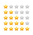3d five stars rating icon set vector image vector image