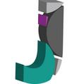 3d font letter j vector image vector image