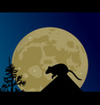 a huge moon glows the silhouette of the rat on vector image vector image