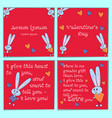 a set of cards with cartoon rabbits for valentines vector image vector image