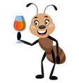 ant holding glass wine on white background vector image vector image