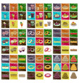 assembly flat shading style icons desserts for vector image vector image
