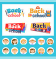 back to school emblems and pupils round avatars vector image