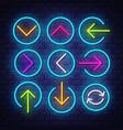 big collection neon arrows neon arrows symbols vector image
