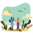 birdwatching people cartoon character nature vector image
