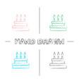 birthday cake hand drawn icons set vector image