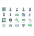board games line icons vector image