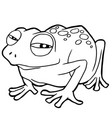 cartoon cute frog coloring page vector image vector image