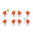 cartoon doodle heart characters vector image