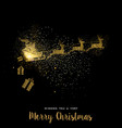 Christmas gold glitter santa claus holiday card vector image