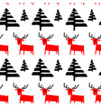 christmas seamless pattern with deers and pine vector image vector image