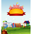 circus scene with sign template in sky vector image vector image