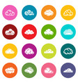 cloud icons set colorful circles vector image vector image