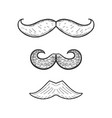 collection of hand drawn mustache vector image vector image