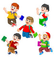 collection student holding book vector image vector image