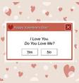 computer dialogue box happy valentines day vector image vector image