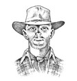 cowboy face close up sheriff in hat western vector image