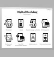 digital banking icons solid pack vector image