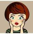 Emotion Surprised brunette woman Expression look