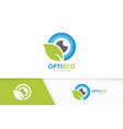 eye and leaf logo combination optic and vector image vector image