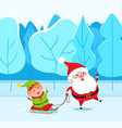 fairy characters santa and elf in forest vector image vector image