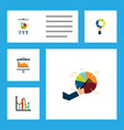 flat icon diagram set of chart easel diagram and vector image vector image