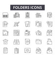 folders line icons for web and mobile design vector image