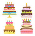 four sweet birthday cake with burning candles vector image vector image