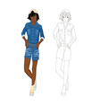 Girl Denim Fashion African Color No 2 vector image