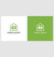 green leaf house logo design vector image