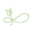 green monoline calligraphy logo of green leaf vector image vector image