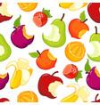 half eaten fruits seamless pattern vector image vector image