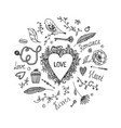hand drawn romantic set love wedding vector image