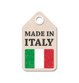 hang tag made in italy with flag vector image vector image