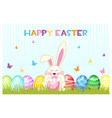 happy easter day eggs and rabbit on the vector image