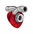 heart turbo logo vector image vector image