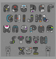 hipster alphabet funny gray artistic font vector image vector image