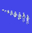 isometric evolution robots progress in vector image vector image