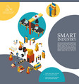isometric smart industry colorful template vector image vector image