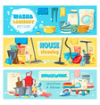 laundry cleaning tools housework services banners vector image vector image